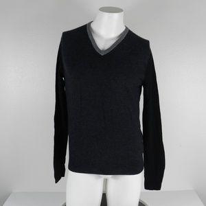 Express LS V Neck Sweater Gray/Black Medium
